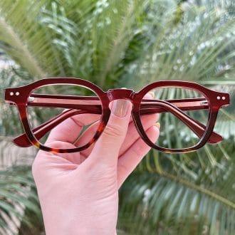 Óculos de Grau Quadrado Marsala com Tartaruga Caroline