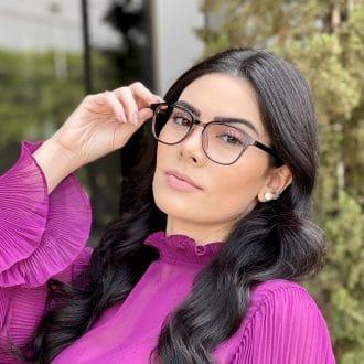 Óculos de Grau Quadrado Marrom Silvia