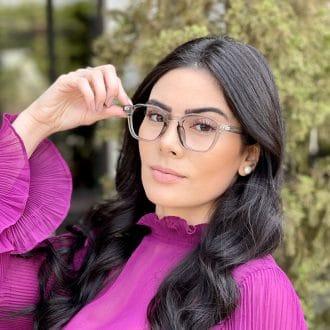 Óculos de Grau Quadrado Cinza Caroline