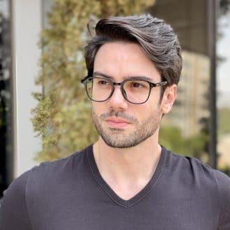Óculos de Grau Masculino Quadrado Preto Gean