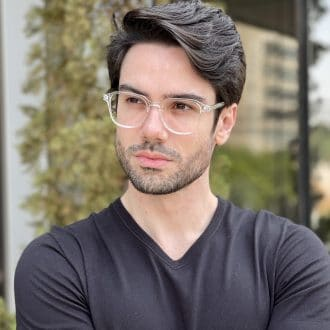 Óculos de Grau Masculino Quadrado Transparente Gean