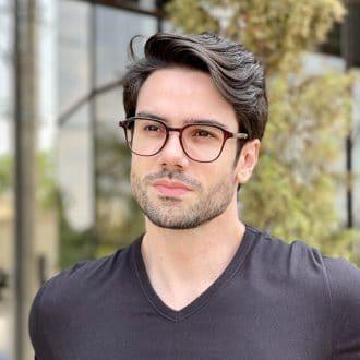 Óculos de Grau Masculino Quadrado Marrom Gean