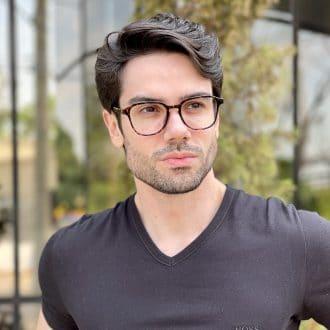 Óculos de Grau Masculino Quadrado Tartaruga Gean