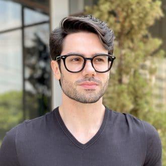 Óculos de Grau Masculino Redondo Preto Carlos
