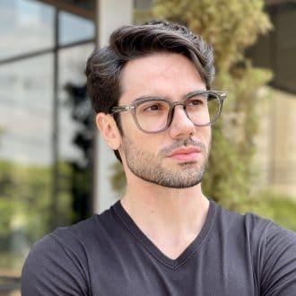 Óculos de Grau Masculino Redondo Cinza Carlos