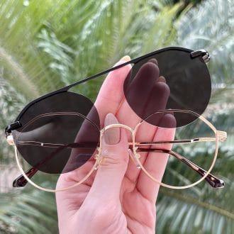 oculos 2 em 1 clip on hexagonal dourado com preto maisa