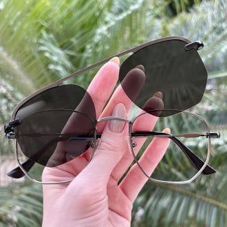 oculos 2 em 1 clip on hexagonal grafite