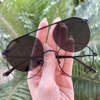 oculos 2 em 1 clip on hexagonal preto maisa