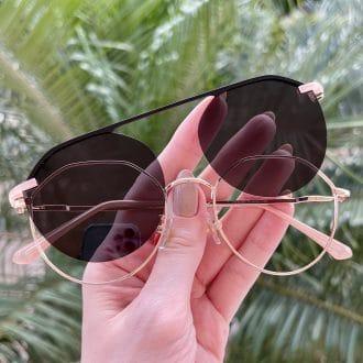 oculos 2 em 1 clip on hexagonal rose maisa