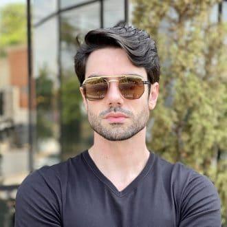 Óculos 2 em 1 Clip-On Masculino Hexagonal Dourado com Marrom