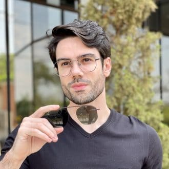 Óculos 2 em 1 Clip-On Masculino Hexagonal Grafite