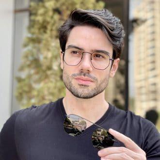 Óculos 2 em 1 Clip-On Masculino Hexagonal Preto