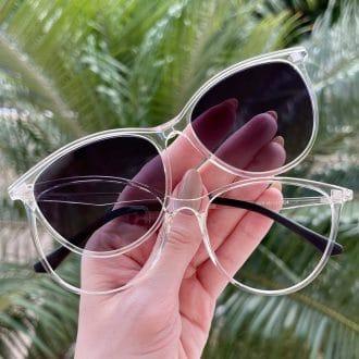 Óculos 2 em 1 Clip-On Gatinho Transparente